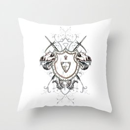 Knights Shield and Two Skulls Throw Pillow