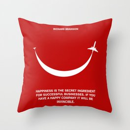 Lab No. 4 - Happiness is the secret Richard Branson Business Quotes Poster Throw Pillow