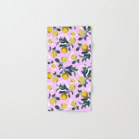 Geometric and Lemon pattern Hand & Bath Towel