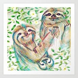 Sloth Family Art Print