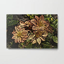 Peach flowers Woodcut Metal Print
