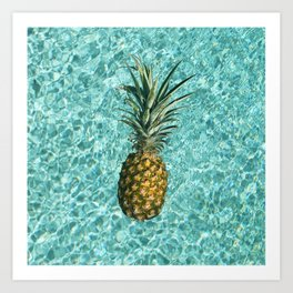 Pineapple Swimming Art Print