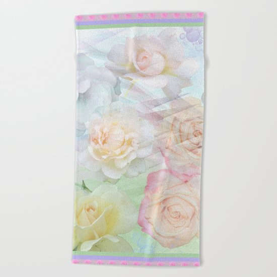 Romantic roses in pastels Beach Towel