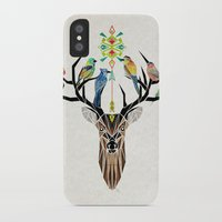 yetiland iPhone & iPod Cases featuring deer birds by Manoou