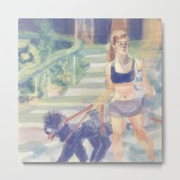 Danielle Campbell Walking Her Dogs Metal Print