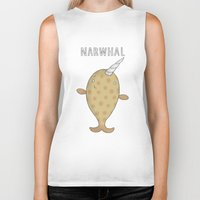 narwhal Biker Tanks featuring Narwhal by Carl Batterbee Illustration