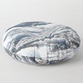 Watercolor Ice 24, Lake Estes Winter Sparkles Floor Pillow