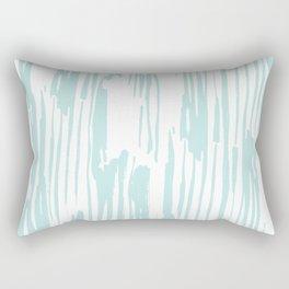 Bamboo Stripe White on Succulent Blue Rectangular Pillow