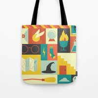 lotr Tote Bags featuring King's Cross - Harry Potter by Ariel Wilson
