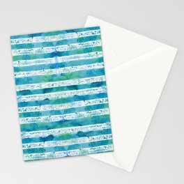 blue green watercolor stripes Stationery Cards
