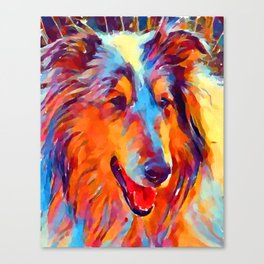 Collie Watercolor Canvas Print