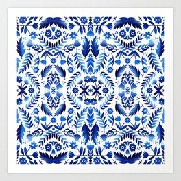 Folk Art Flowers - Blue and White Art Print