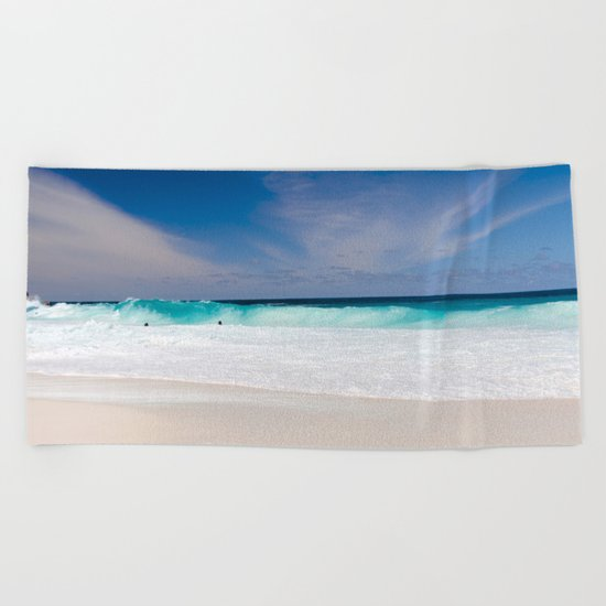 Tropical Turquoise Waves Beach Towel