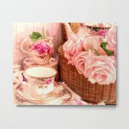 Teacups and Roses 4 Metal Print