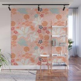 Orange Japanese pond florals Wall Mural