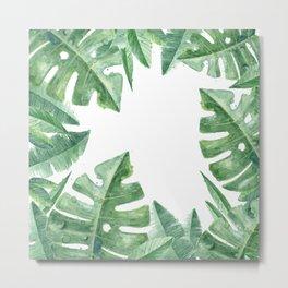 Tropical Green Monstera Watercolor Metal Print