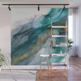 Wild Rush - abstract ocean theme in teal, gray and gold color Wall Mural
