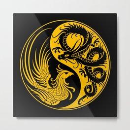 Yellow and Black Dragon Phoenix Yin Yang Metal Print