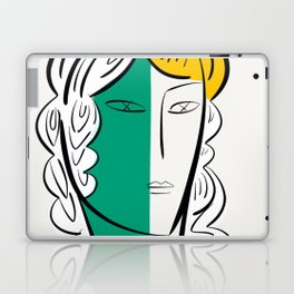 Minimal Green White and Yellow Portrait Graphic Design Laptop & iPad Skin