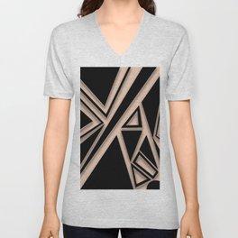 Nude and black geometric shapes Unisex V-Neck