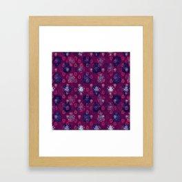 Lotus flower - wine red woodblock print style pattern Framed Art Print