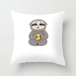 Funny, Lazy But Cute Tshirt Design Torned Ball Sloth Throw Pillow
