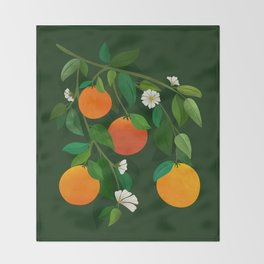 Oranges and Blossoms / Botanical Illustration Throw Blanket