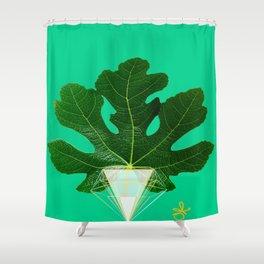 Fig Leaf Diamond Christmas Tree Shower Curtain