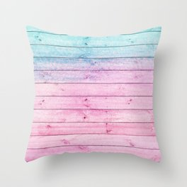turquoise and pink distressed stained painted wood board wall Throw Pillow