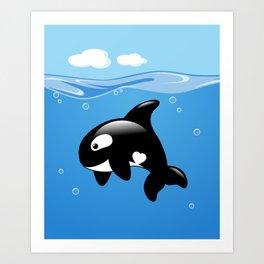 Orca, Cute Killer Whale Art Print