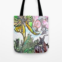 fawn Tote Bags featuring Fawn by Dawn Patel Art