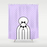 shih tzu Shower Curtains featuring Pop Dog Shin-tzu by lllg