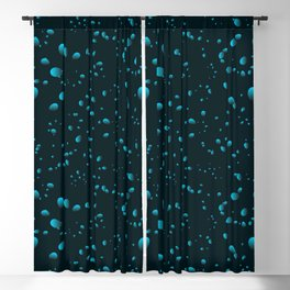 Heavenly iridescent drops and petals on a black background in nacre. Blackout Curtain
