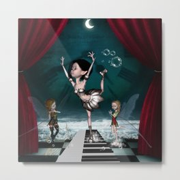 Cute fairy dancing on a piano on the beach Metal Print