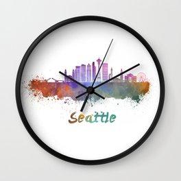 Seattle V2 skyline in watercolor Wall Clock