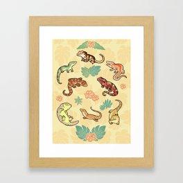 Gecko family in yellow Framed Art Print