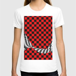 Schwarz rot weiss T-shirt