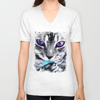 thundercats V-neck T-shirts featuring Purple eyes Cat by Augustinet