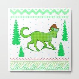 christmas ugly sweater green a fox like a fox Metal Print