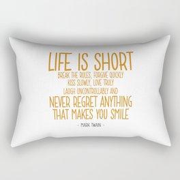 Life is Short Quote - Mark Twain Rectangular Pillow