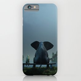 elephant and dog relaxing at summer night iPhone Case