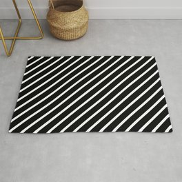 Black and White Diagonal Tight Stripes Rug