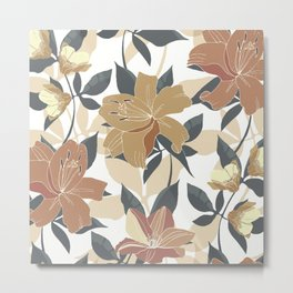 Floral Prints, Terracotta and Gold, Lillies Metal Print