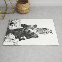 Black and White Woodland Animals Rug