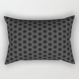 Black and grey Flower Print Rectangular Pillow