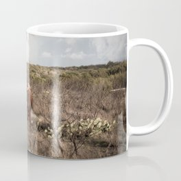 Stare Down - A Texas Bull in the Mesquite and Cactus Coffee Mug