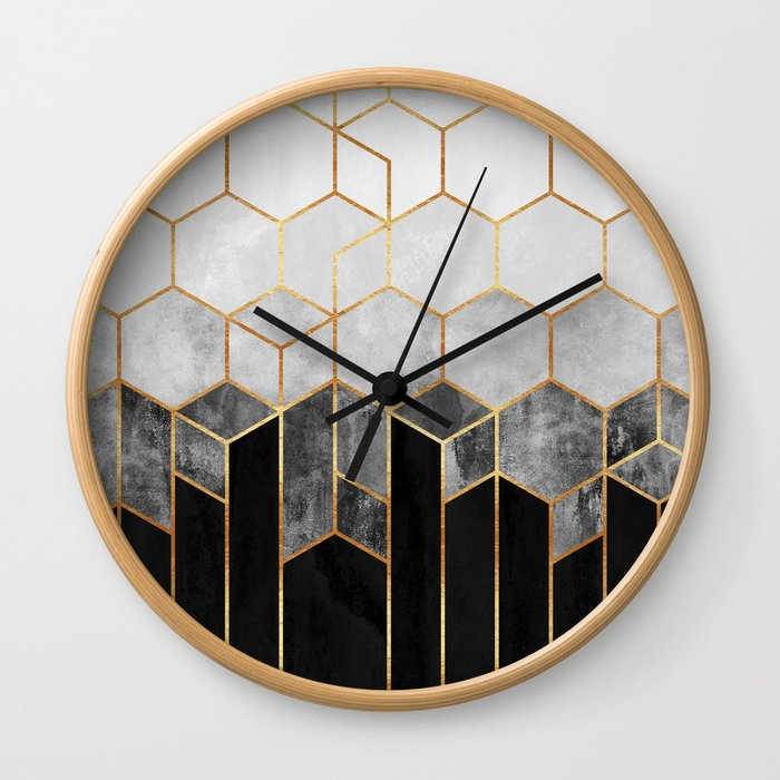 Charcoal Hexagons Wall Clock