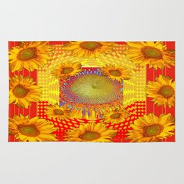Decorative Red Sunflowers Field  Abstract Patterns Rug