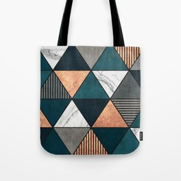 Copper, Marble and Concrete Triangles 2 with Blue Tote Bag