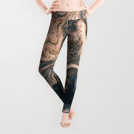 M A R B L E - copper & blue Leggings